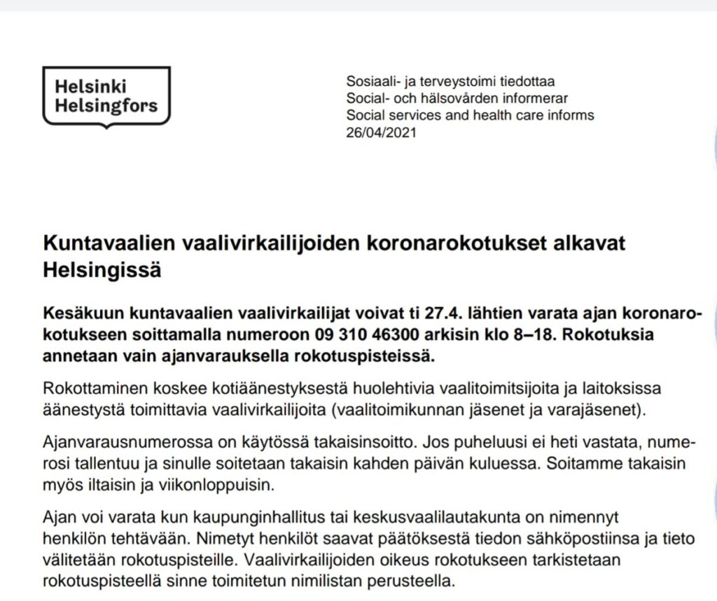 Text by city of Helsinki: Covid vaccines for electoral officers